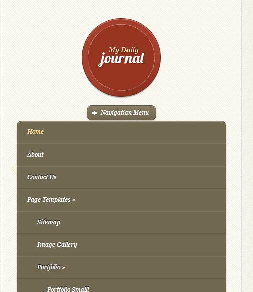 DailyJournal - Mobile menu